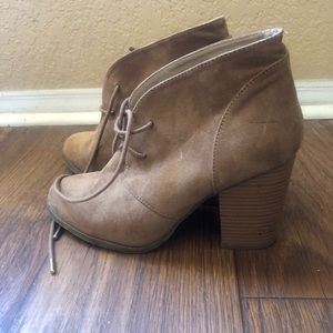 Taupe Forever 21 heeled booties